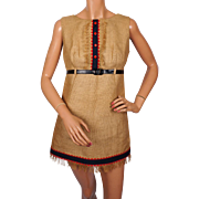 Vintage 60s Burlap Mini Dress by Juniorite Montreal Size M
