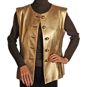 Vintage Yves Saint Laurent Gold Leather Vest 1980s Size 42