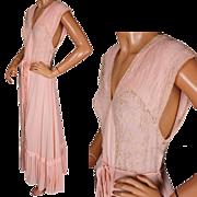Vintage Nightgown 1930s Pink Silk Chiffon Georgette Nightie Size S / M