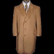 Vintage Pure Cashmere Overcoat Camel Color Coat Mens Size L 42 Short