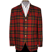 SOLD RESERVED - Vintage Mens Sport Jacket Patriotic Maple Leaf Canadian National Tartan Patter