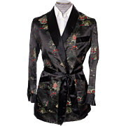 Vintage Unused Smoking Jacket by Caulfeild Black Oriental Pattern Mens Size M
