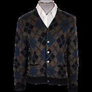 Vintage 60s Mens Wool & Mohair Cardigan Sweater Argyle Pattern Size M