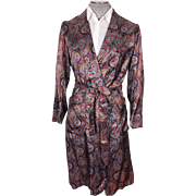 Vintage Mens Dressing Gown by Caulfeild Paisley Pattern Lounging Robe Size S