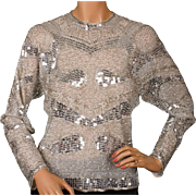 Vintage 1970s Halston Silver Sequin & Beaded Top - S