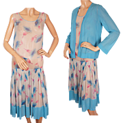 Vintage 1920s Art Deco Floral Print Silk Chiffon Dress Flapper Style Size M