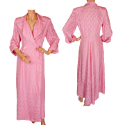 Vintage Pink Silk Dressing Gown 1950s Robe or Hostess Dress Ladies Size M L