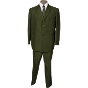 Vintage Mens Mod Pinstripe Green Suit 60s British Invasion Mad Men Era Size L