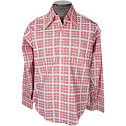 Vintage Mens Shirt 1970s Pink Square Geometric Long Sleeve Unused Size L 16