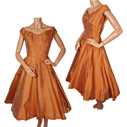 Vintage Ceil Chapman Orange Silk Taffeta Party Dress 1950s Size S M
