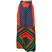 Vintage 1960s Geometric Color Block Maxi Skirt - Polka Dot - M