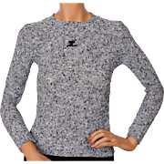 Vintage 70s Courreges Logo Sweater Salt & Pepper Nubby Knit Ladies Size S