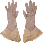 Vintage 1920s Silk Gauntlet Gloves - Taupe