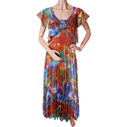 Vintage 70s Maxi Tie Dye Dress - Pleated - S