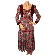 Vintage 60s Hippie Boho Dress Peasant Style by Ragtime Size M