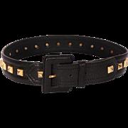Vintage 70s Yves Saint Laurent Rive Gauche Studded Black Leather Belt Ladies Size S / M