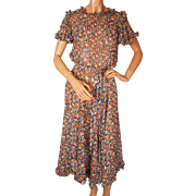 Vintage 1970s Silk Chiffon Dress - Floral Print - Ruffles