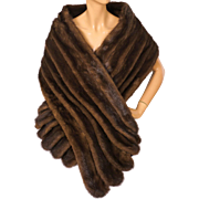Vintage Mink Fur Stole Calman Links London Glamorous Style Scanbrown Color