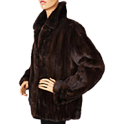 Vintage Mink Fur Jacket Dark Brown Size M