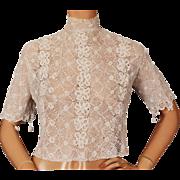 Antique Edwardian White Irish Crochet Lace Blouse Size M