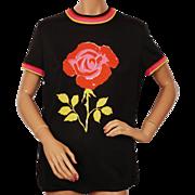 Vintage 60s Mr Dino Top Signed Large Rose Ladies Blouse