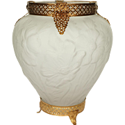 Consolidated Art Glass Martele Line Vase with Ormolu Mount - Poppies