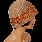 Vintage 1920s Straw Cloche Hat with Velvet Flowers Ladies Size M / L