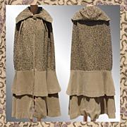 Vintage 1920s Brown Wool Cape or Cloak