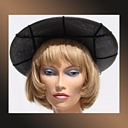 Vintage 1950s Bonwit Teller Black Parisisal Straw Ladies Hat