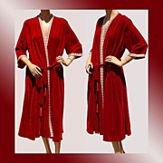 Vintage 1960s Red Velvet Dressing Gown Robe