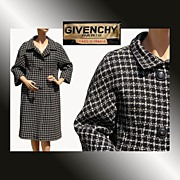 Vintage 1950s Givenchy Haute Couture Black and White Tweed Wool Coat