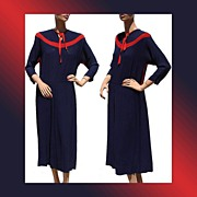 Vintage 1940s Dress Blue & Red Crepe Medium Large