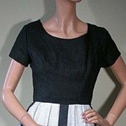 Vintage 50s Jac-Lynn Black & Off-White Linen Dress