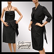 Vintage 1950s Cocktail Dress GiGi Young Black Sequined Taffeta w Jacket Ladies' Size Small