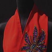 Vintage 1940s Red Crepe Scarf // Sequin Flower