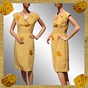 Vintage 1950s Raw Silk Dress Yellow with Flower Appliques Medium