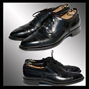 Vintage 1960s Florsheim Imperial Oxford Shoes // Quarter Brogue Black Hand Finished Men's Si