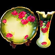 Red Rose Bavaria Porcelain Vase and Charger
