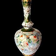 Limoges A Lanternier Gold Crusted Rose Vase