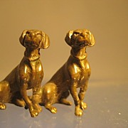 Pair of Bronze Sitting Hounds - Edwardian