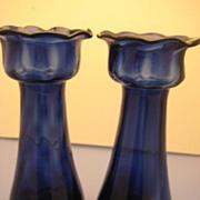 Pair of Hyacinth Vases in Cobalt Blue - Victorian