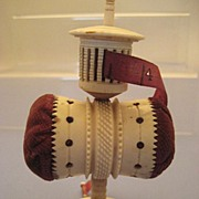 SALE PENDING Stand-Alone Pin Cushion/Tape Measure Combo in Antique Bone - Victorian