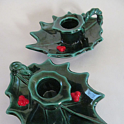 SOLD Lefton Christmas Holly Candle Holders