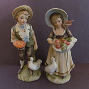 Lefton Young Countryside Farm Couple, Boy & Girl Figurines #6988