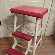 Terrific Wood Red & White 3 Step Stool, Fold Out,Fold In Steps