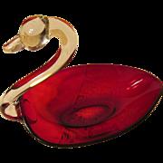 Pretty Ruby & Crystal Swan Dish Bowl