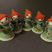 SOLD 5 Christmas Girl Pixies with Candy Canes, Chenille,Felt, Cardboard