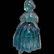 Wheaton Blue Carnival Glass Girl Figurine