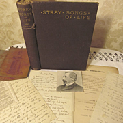 1889 Stray Songs of Life by Divie Bethune Duffield, Signed Copy with Paperwork of Original Han