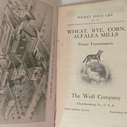 Early 1900's, The Wolf Company Catalog.. Wheat, Rye, Corn, Alfalfa Mills..Power Transmission,